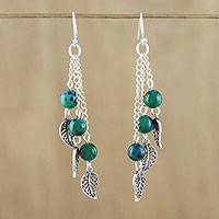 Serpentine dangle earrings, 'Silvery Forest' - Serpentine and Sterling Silver Leaf Dangle Earrings