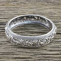 Sterling silver bangle bracelet, 'Wonderful Zodiac' - Zodiac Sterling Silver Bangle Bracelet from Thailand