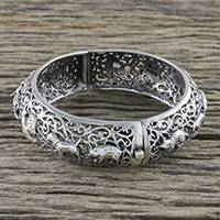 Sterling silver bangle bracelet, 'Chinese Zodiac' - Hinged Sterling Bangle with Chinese Zodiac Animals