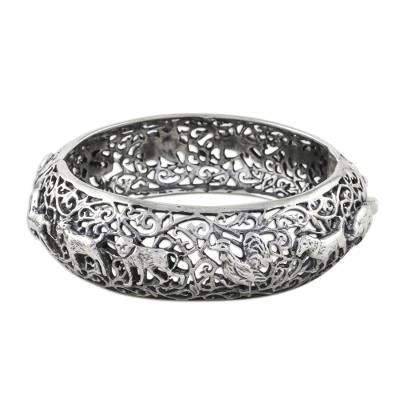 Sterling silver bangle bracelet, 'Chinese Zodiac' - Hinged Sterling Bangle with Chinese Zodiac Animals