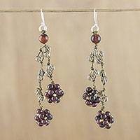Multi-gemstone cluster earrings, 'Hanging Berries' - Garnet Smoky Quartz and Tiger's Eye Earrings from Thailand