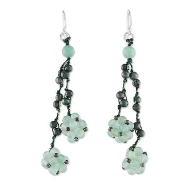 Aventurine and Cultured Pearl Cluster Earrings from Thailand
