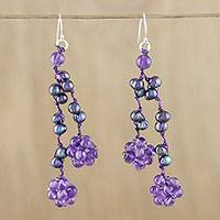 Amethyst and cultured pearl cluster earrings, 'Hanging Berries' - Amethyst and Cultured Pearl Cluster Earrings from Thailand