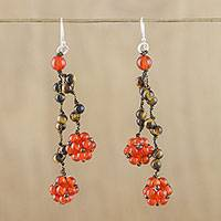 Carnelian and tiger's eye cluster earrings, 'Hanging Berries' - Carnelian and Tiger's Eye Cluster Earrings from Thailand