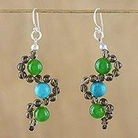 Multi-gemstone dangle earrings, 'Dancing Gems' - Multi-Gemstone Beaded Dangle Earrings from Thailand