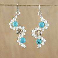 Cultured pearl dangle earrings, 'Dancing Gems' - Cultured Pearl Earrings from Thailand