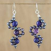 Multi-gemstone dangle earrings, 'Dancing Gems in Blue' - Multi-Gemstone Dangle Earrings in Blue from Thailand