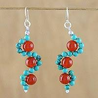 Carnelian and calcite dangle earrings, 'Dancing Gems' - Carnelian and Calcite Beaded Dangle Earrings from Thailand