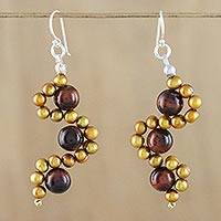 Tiger's eye and cultured pearl dangle earrings, 'Dancing Gems' - Tiger's Eye and Cultured Pearl Dangle Earrings from Thailand