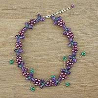 Multi-gemstone beaded necklace, 'Morning Buds in Purple' - Multi Gemstone Beaded Floral Necklace in Purple