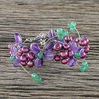 Multi-gemstone beaded bracelet, 'Morning Buds in Purple' - Multi-Gemstone Beaded Wristband Bracelet from Thailand