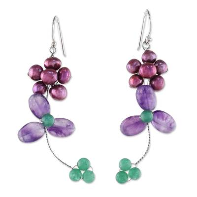 Cultured Pearl and Amethyst Beaded Dangle Earrings