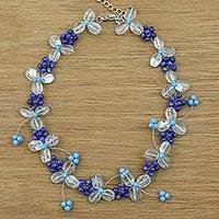 Lapis lazuli and quartz beaded necklace, 'Bluebell Breeze' - Women's Lapis Lazuli and Quartz Beaded Flower Necklace
