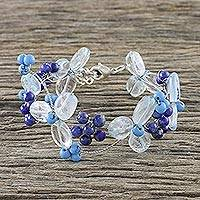 Lapis lazuli and quartz beaded bracelet, 'Bluebell Breeze' - Women's Lapis Lazuli and Quartz Beaded Flower Bracelet