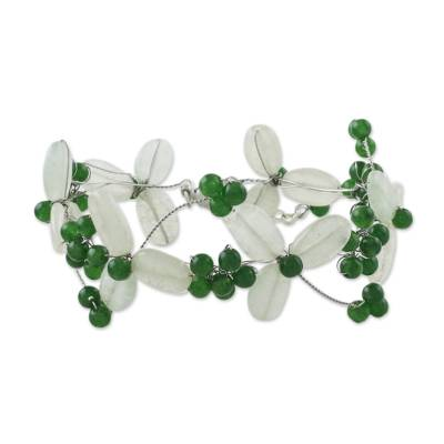 Artisan Crafted Aventurine and Quartz Green Clover Beaded Bracelet