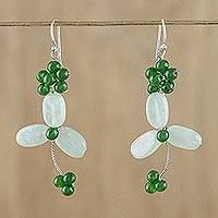 Aventurine and quartz beaded dangle earrings, 'Luck of the Irish' - Green Quartz and Aventurine Beaded Dangle Earrings 925 Hooks