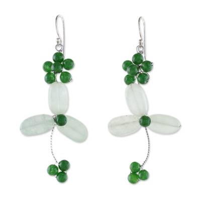 Green Quartz and Aventurine Beaded Dangle Earrings 925 Hooks
