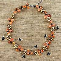 Carnelian and cultured pearl beaded necklace, 'Autumn Days' - Adjustable Cultured Pearl and Carnelian Floral Necklace