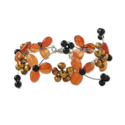 Floral Bracelet with Carnelian Onyx and Cultured Pearl