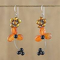 Carnelian and cultured pearl beaded dangle earrings, 'Autumn Days' - Dangle Earrings with Carnelian and Golden Cultured Pearl
