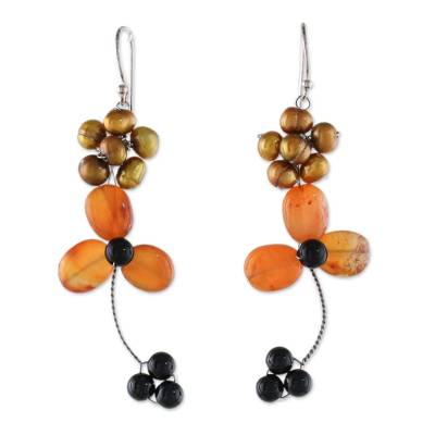 Dangle Earrings with Carnelian and Golden Cultured Pearl