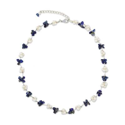 Cultured pearl and lapis lazuli beaded necklace, 'Chiang Mai Memories' - Artisan Crafted Lapis Lazuli and Cultured Pearl Necklace