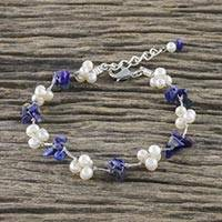 Cultured pearl and lapis lazuli beaded bracelet, 'Chiang Mai Memories in Blue' - Beaded Bracelet with Cultured Pearl and Lapis Lazuli