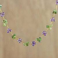 Amethyst and peridot beaded necklace, 'Chiang Mai Muse'