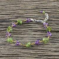 Amethyst and peridot beaded bracelet, 'Chiang Mai Muse' - Beaded Amethyst and Peridot Bracelet from Thailand