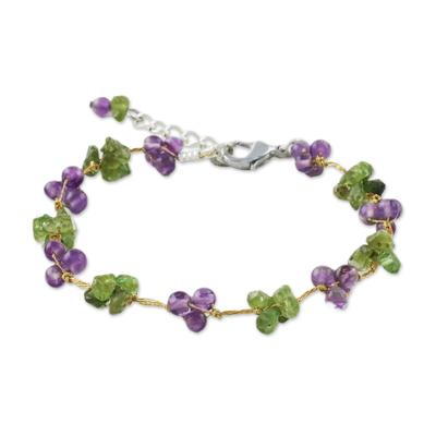 Unique Amethyst Peridot Green and Purple Beaded Bracelet on Silk Thread
