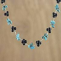 Onyx beaded necklace, 'Chiang Mai Mist' - Artisan Necklace with Black Onyx and Silver Plated Clasp