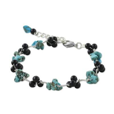 Artisan Crafted Bracelet with Onyx and Turquoise Beads