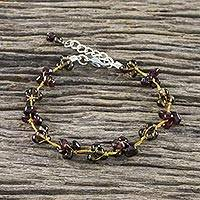 Garnet and smoky quartz beaded bracelet, 'Chiang Mai Smoke' - Garnet and Smoky Quartz Hand Beaded Bracelet