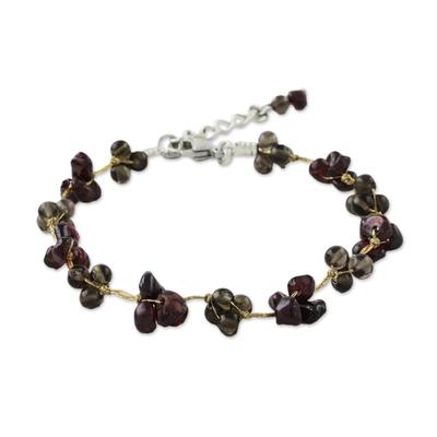 Garnet and Smoky Quartz Hand Beaded Bracelet