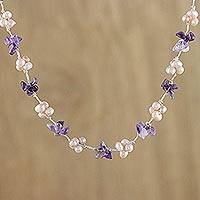 Amethyst and cultured pearl beaded necklace, 'Chiang Mai Spring'