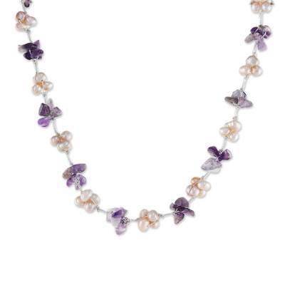Amethyst and cultured pearl beaded necklace, 'Chiang Mai Spring' - Artisan Crafted Amethyst and Pink Cultured Pearl Necklace