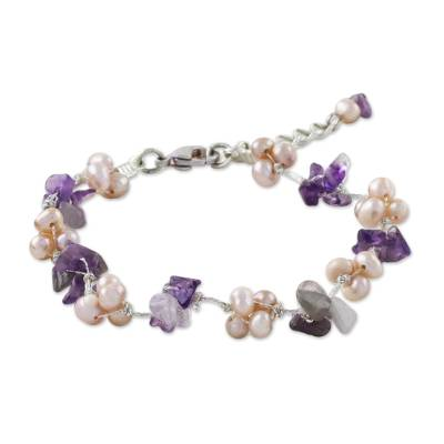 Amethyst and Pink Cultured Pearl Beaded Bracelet