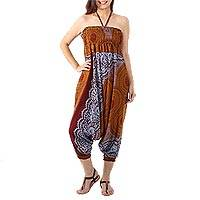 Rayon harem pants or jumpsuit, 'Exotic Holiday in Brown' - Print Rayon Jumpsuit Convertible to Harem Pants