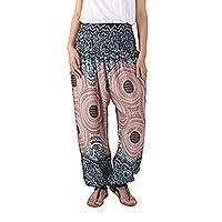Rayon harem pants, 'Exotic Holiday in Blue' - Mandala Print Rayon Harem Pants from Thailand