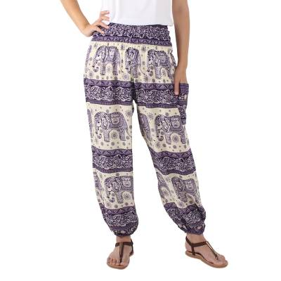 Rayon harem pants, 'Playful Holiday in Purple' - Purple and White Print Harem Pants with Elephant Motifs
