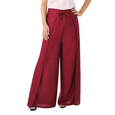 Bordeaux Red Rayon Wrap Pants from Thailand, 'Elegant Lanna in Wine'