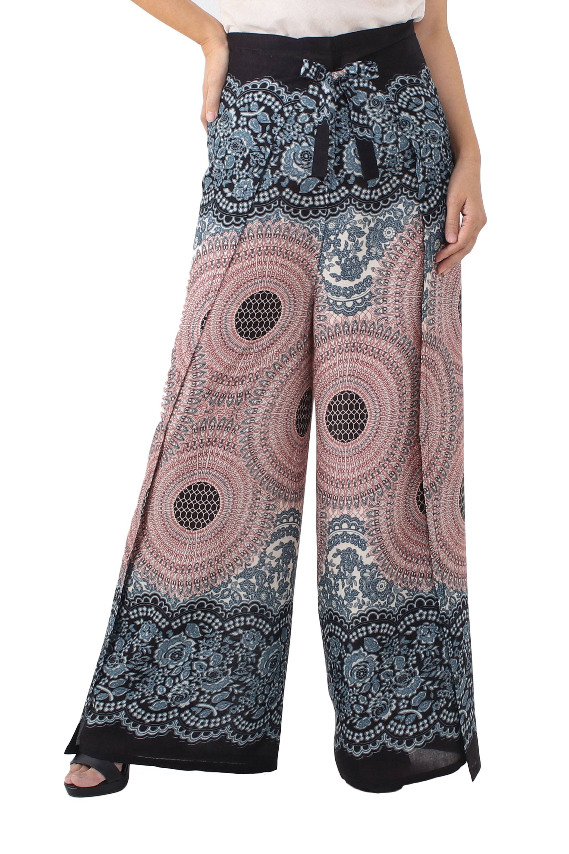 25d08c10e4 Rayon wrap pants, 'Exotic Holiday in Blue' - Mandala Print Wrap Pants in