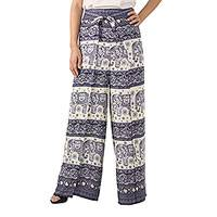 Rayon wrap pants, 'Playful Holiday in Navy' - Blue and White Rayon Wrap Pants with Elephant Motifs
