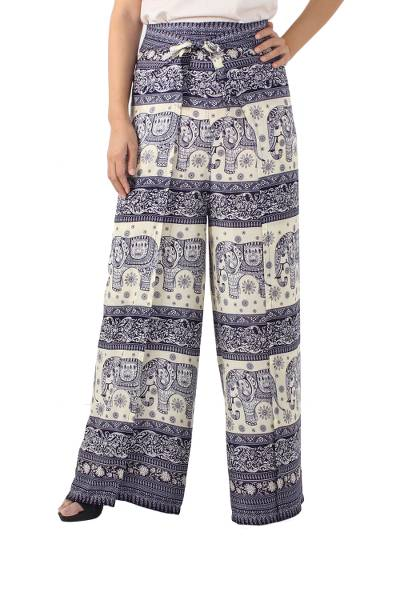 Rayon wrap pants, Playful Holiday in Navy