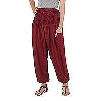 Rayon harem pants, 'Playful Holiday in Garnet' - Red Rayon Smocked Waist Bohemian Harem Pants