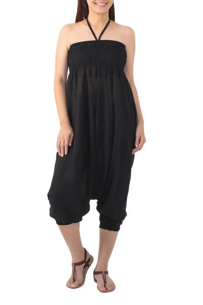 Rayon harem pants or jumpsuit, 'Exotic Holiday in Black' - Solid Black Rayon Jumpsuit or Harem Pants from Thailand