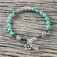 Turquoise beaded bracelet, 'Floral Jungle' - Floral Turquoise and Silver Beaded Bracelet from Thailand