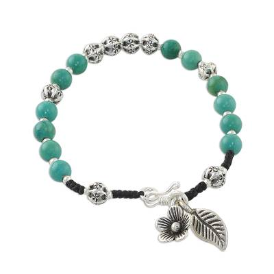 Unique Fine Silver Turquoise Beaded Flower and Leaf Charm Bracelet