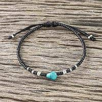 Silver beaded bracelet, 'Karen Simplicity' - 950 Silver and Recon Turquoise Bracelet from Thailand