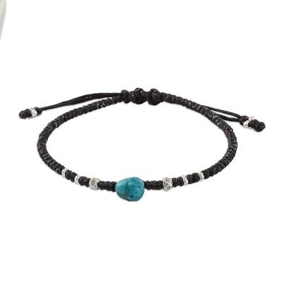 Reconstituted Turquoise Fine Silver Beaded Adjustable Cord Bracelet